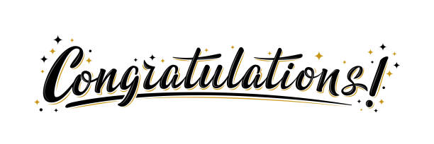 """""""Congratulations!"""" bulk lettering greeting sign. Handwritten modern brush lettering with golden stars. Text for card, T-shirt print, banner, poster, web, notebook, sketchbook. Isolated vector"""